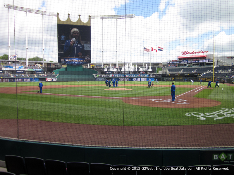 View from Crown Club Section 2 at Kauffman Stadium, home of the Kansas City Royals
