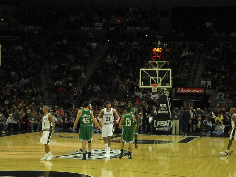 View from the lower level seats at the AT&T Center during a San Antonio Spurs game.
