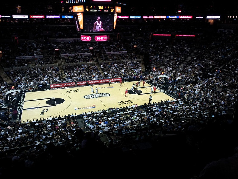 View from the suite level at the AT&T Center during a San Antonio Spurs game.