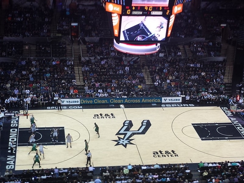View from the upper level seats at the AT&T Center during a San Antonio Spurs game.