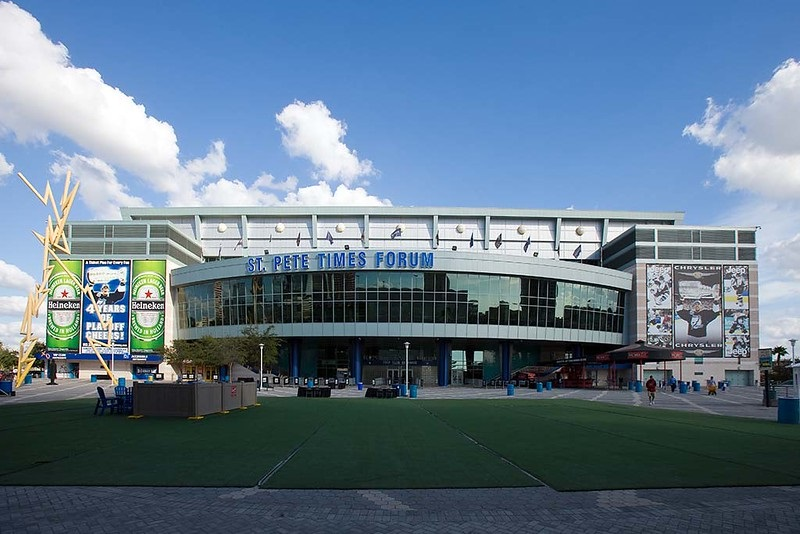 Exterior photo of Amalie Arena. Home of the Tampa Bay Lightning.