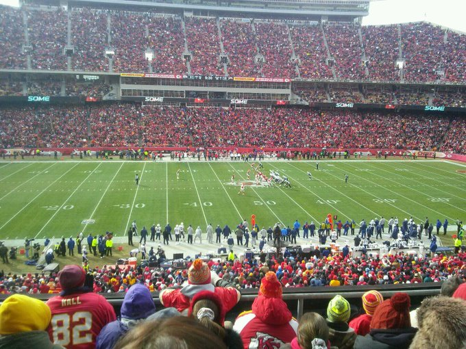 View from the CommunityAmerica club seats at Arrowhead Stadium during a Kansas City Chiefs game.