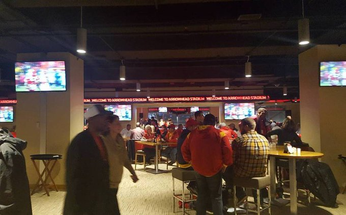 Interior photo of The Founder's Club at Arrowhead Stadium during a Kansas City Chiefs game.