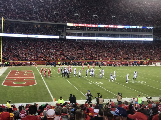 View from the lower level seats at Arrowhead Stadium during a Kansas City Chiefs game.