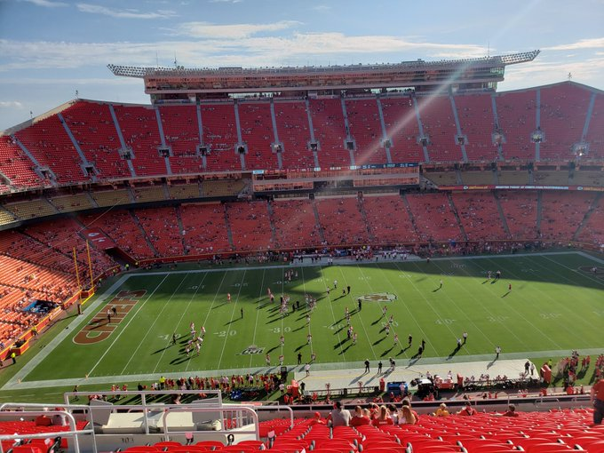 View from the upper level seats at Arrowhead Stadium during a Kansas City Chiefs game.