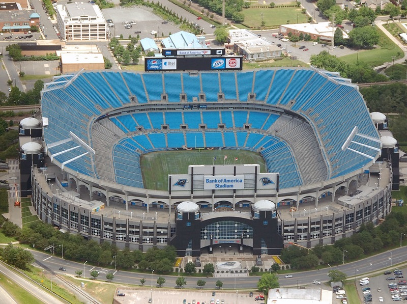 Aerial photo of Bank of America Stadium. Home of the Carolina Panthers.