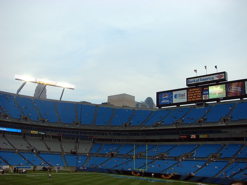 Photo of the west end zone at Bank of America Stadium. Home of the Carolina Panthers.