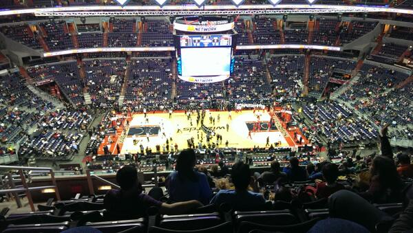 View from the 400 level seats at Capital One Arena during a Washington Wizards game.