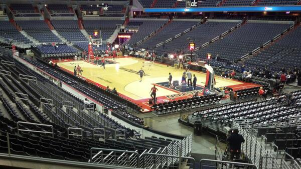 View from the loge boxes at Capital One Arena during a Washington Wizards game.