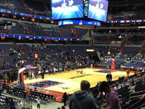 View from the lower level of Capital One Arena during a Washington Wizards game.