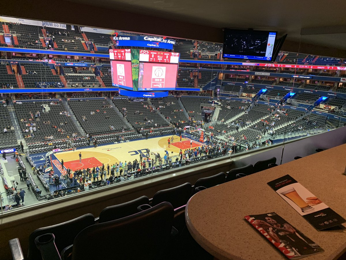 View of the court at Capital One Arena from a suite during a Washington Wizards game.