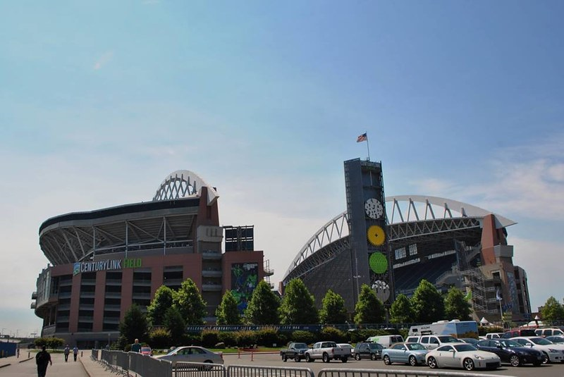 Exterior photo of CenturyLink Field. Home of the Seattle Seahawks.