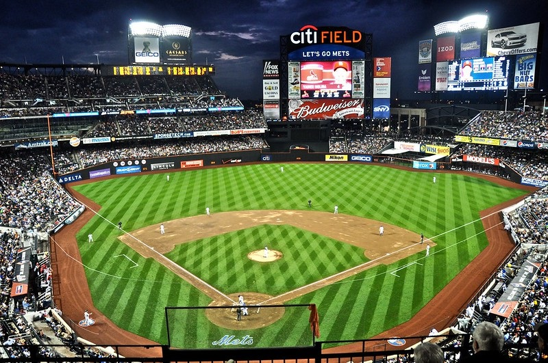 Photo of Citi Field taken from the upper level during a New York Mets home game.