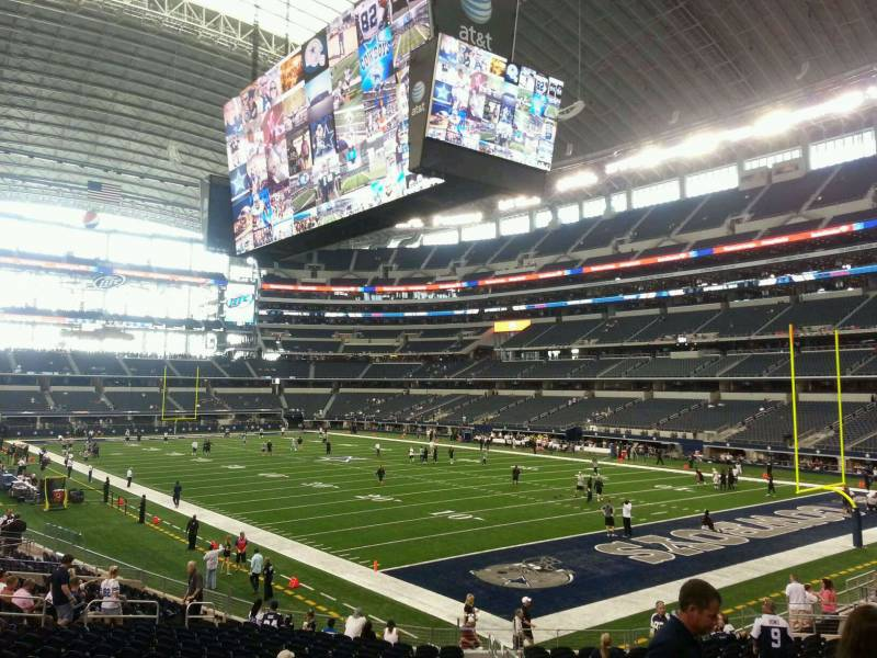 Seat view from section 102 at AT&T Stadium, home of the Dallas Cowboys