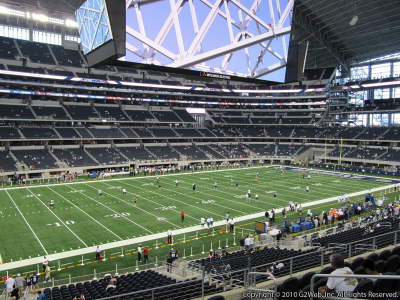 Seat view from section 214 at AT&T Stadium, home of the Dallas Cowboys