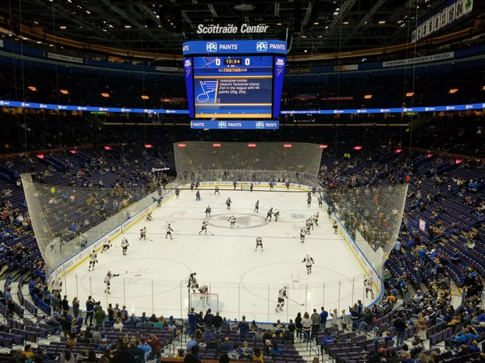 View from the Bull and Bear seating area at the Enterprise Center during a St. Louis Blues game.