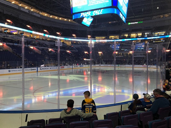 View from the lower level seats at the Enterprise Center during a St. Louis Blues game.