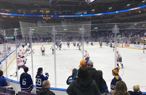View from the Scott Credit Union Rinkside Club seats at the Enterprise Center during a St. Louis Blues game.