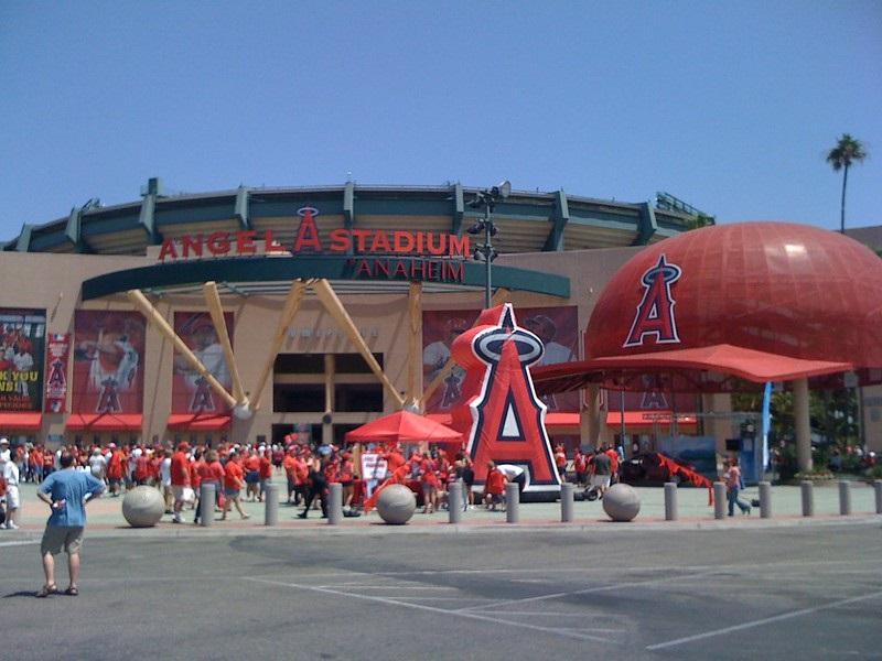 Exterior photo of the main entrance to Angel Stadium of Anaheim.