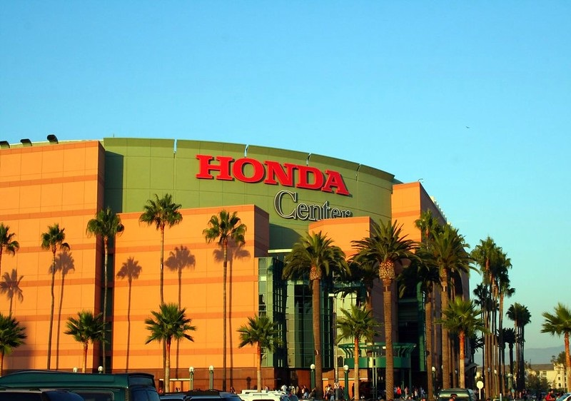 Exterior photo of the Honda Center, home of the Anaheim Ducks.