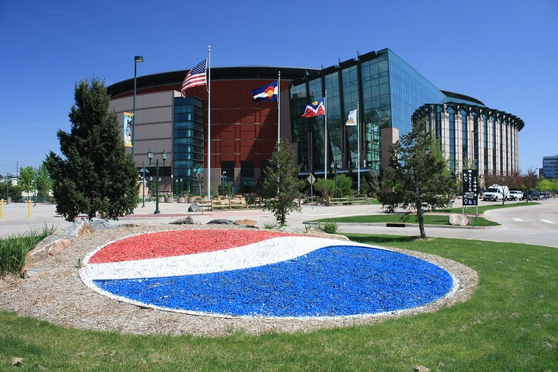 Exterior photo of the Pepsi Center. Home of the Denver Nuggets.