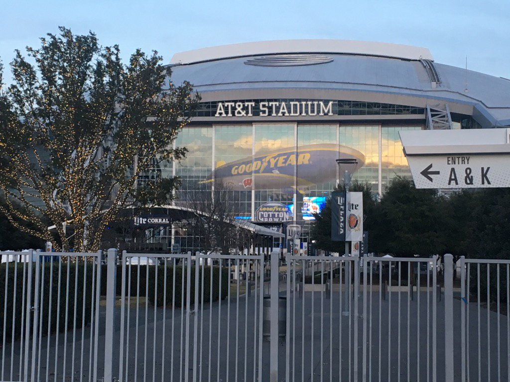 Exterior photo of AT&T Stadium, home of the Dallas Cowboys.
