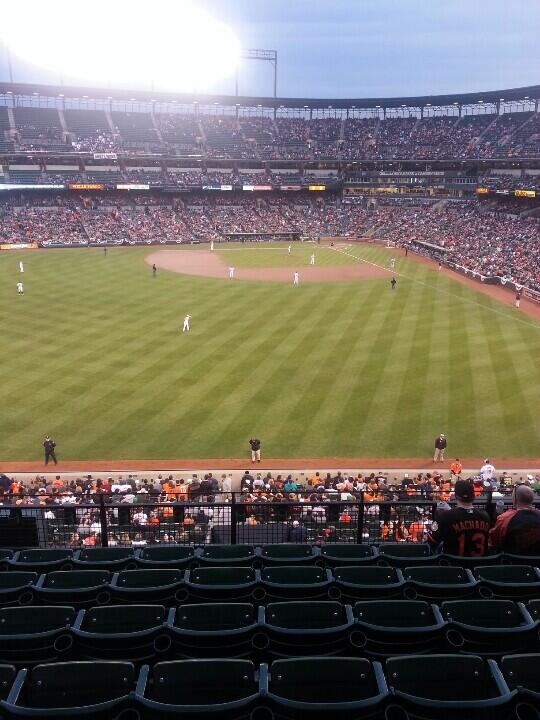 Photo of Oriole Park at Camden Yards from the Bistro Tables.