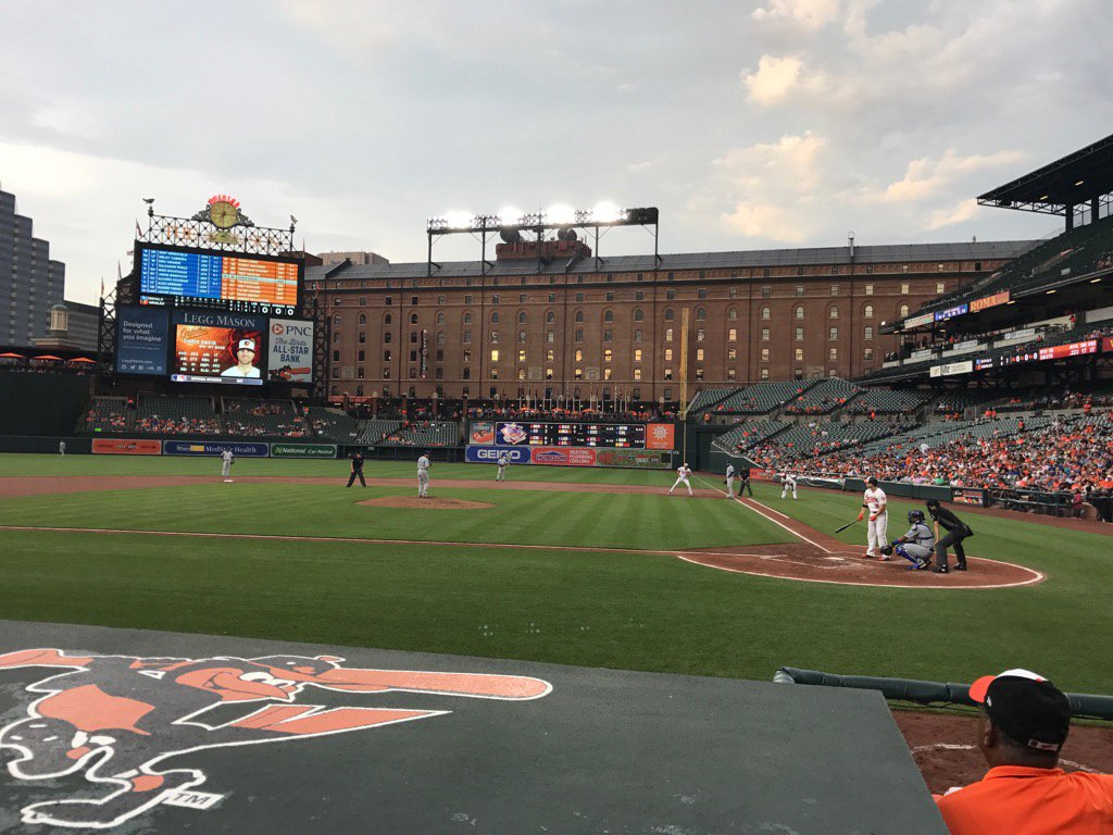 Photo of Oriole Park at Camden Yards from the field box seats.