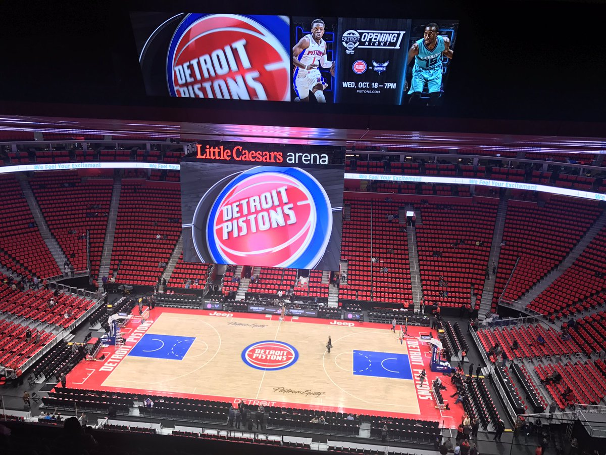 Photo of the court at Little Caesars Arena, home of the Detroit Pistons.