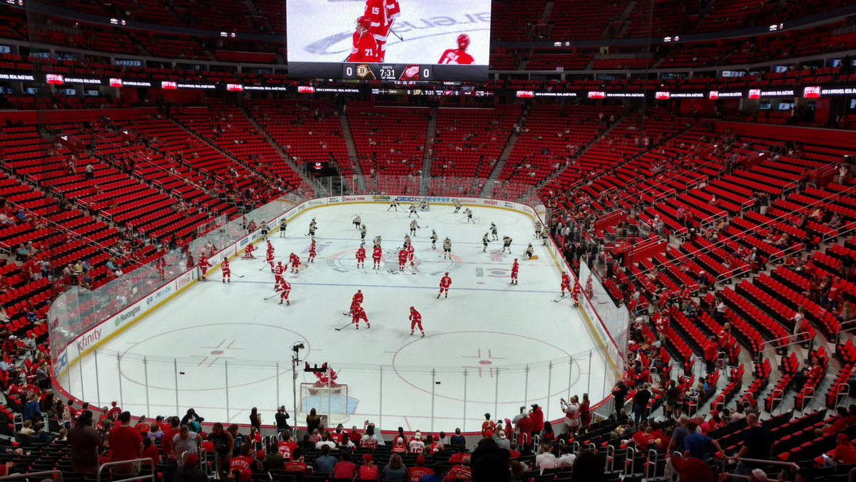 Photo of the ice at Little Caesars Arena, home of the Detroit Red Wings.