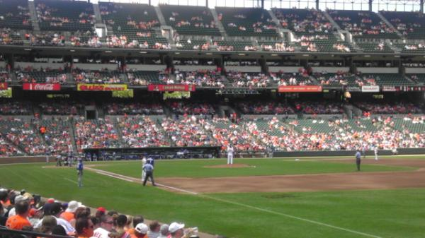 Photo of Oriole Park at Camden Yards from the lower box seats.