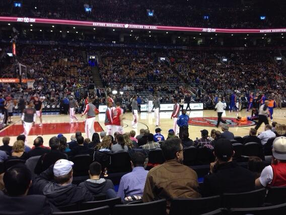 Photo of a Toronto Raptors game from the lower level of Scotiabank Arena.