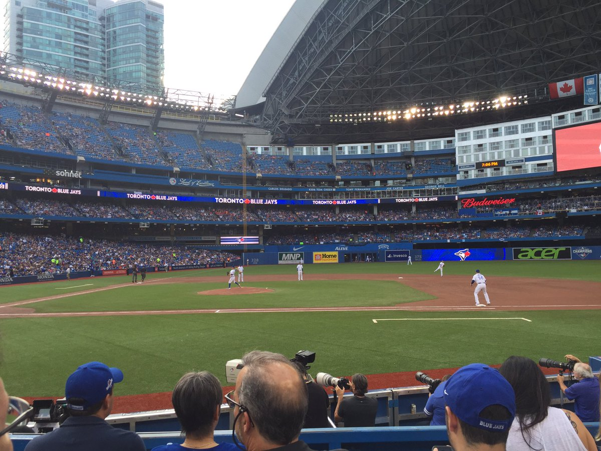 Photo of the Rogers Centre from the premium dugout seats.