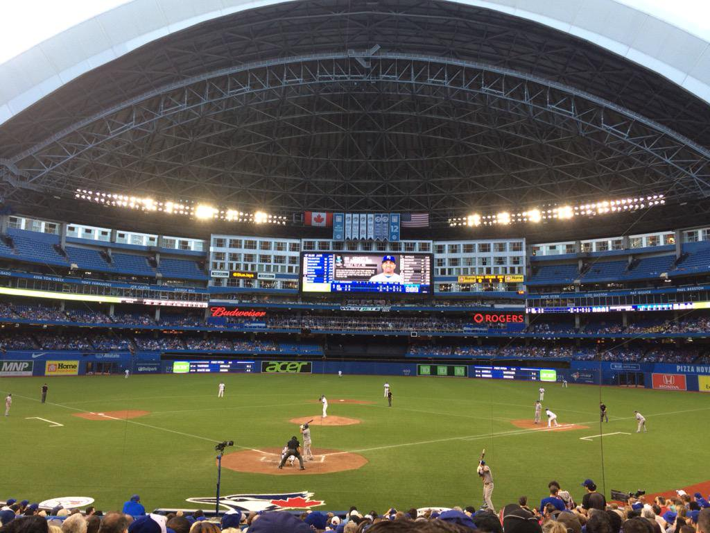Photo of the Rogers Centre from the premium infield seats.