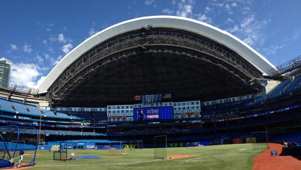 Photo of the Rogers Centre from the field before a Toronto Blue Jays game.