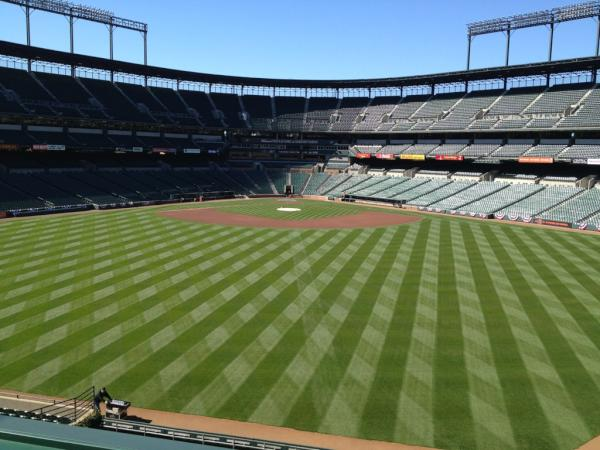 Photo of Oriole Park at Camden Yards from the roof deck.