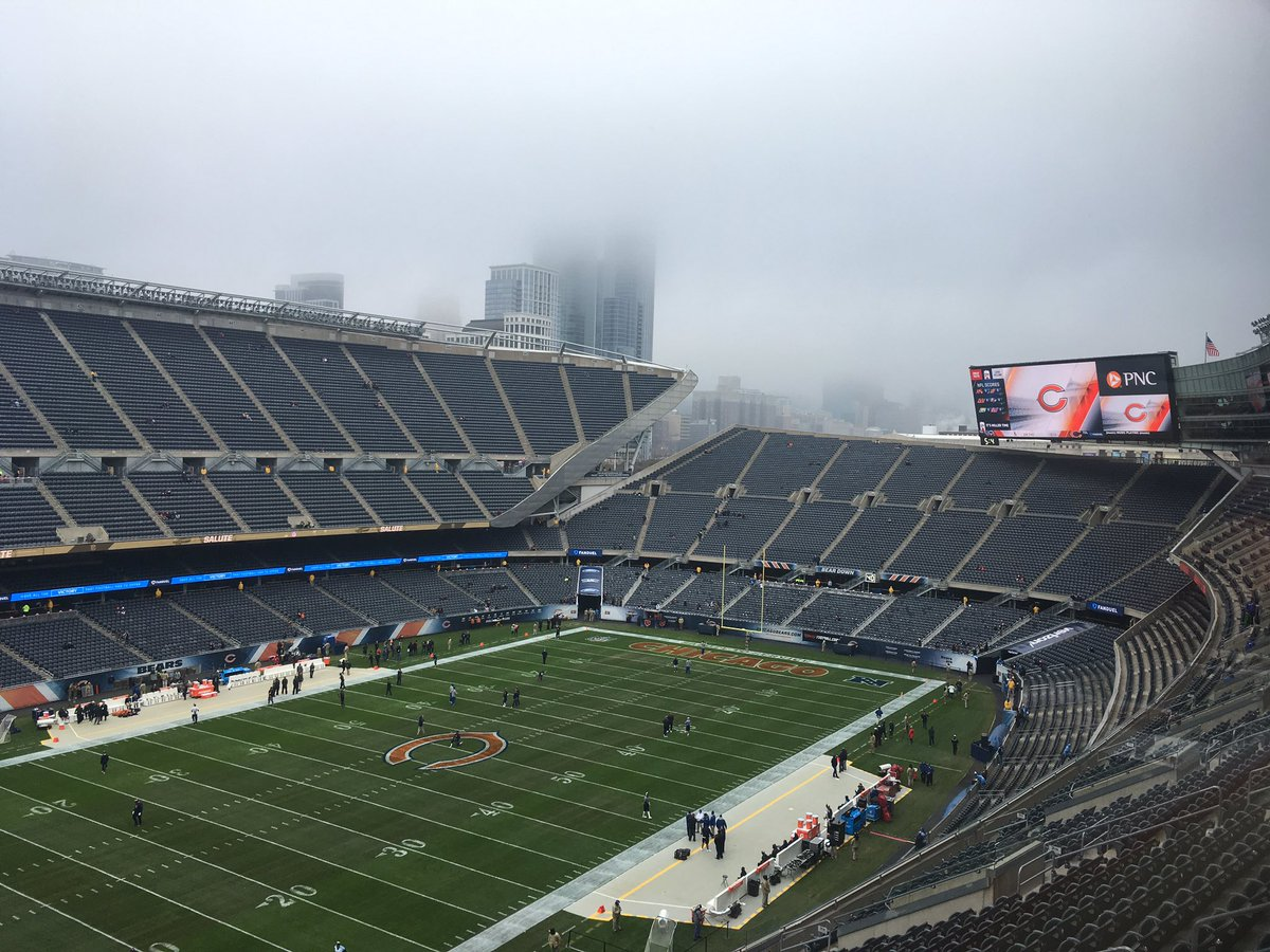 View of the playing field at Soldier Field, home of the Chicago Bears.