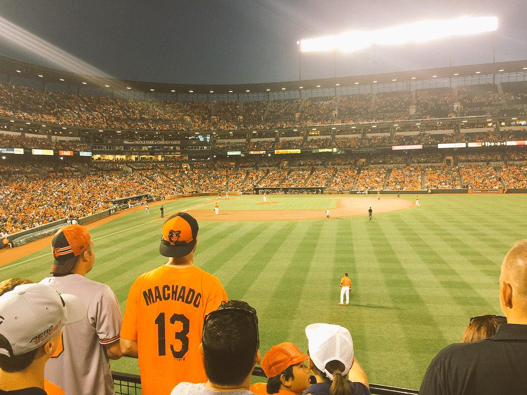 Photo of Oriole Park at Camden Yards from the standing room only area.