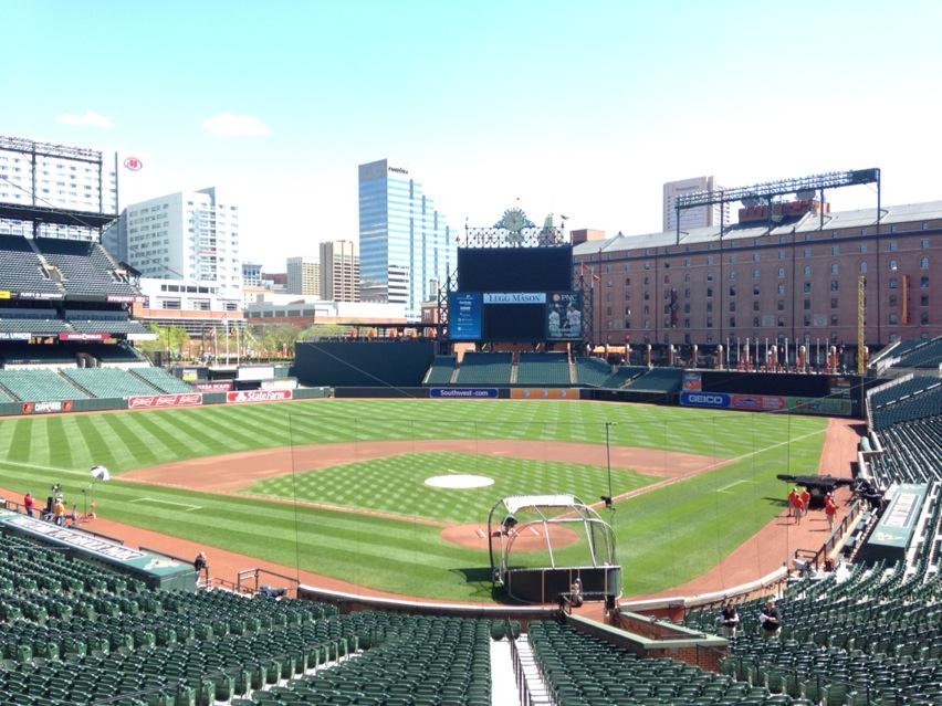 Photo of Oriole Park at Camden Yards from the terrace box seats.