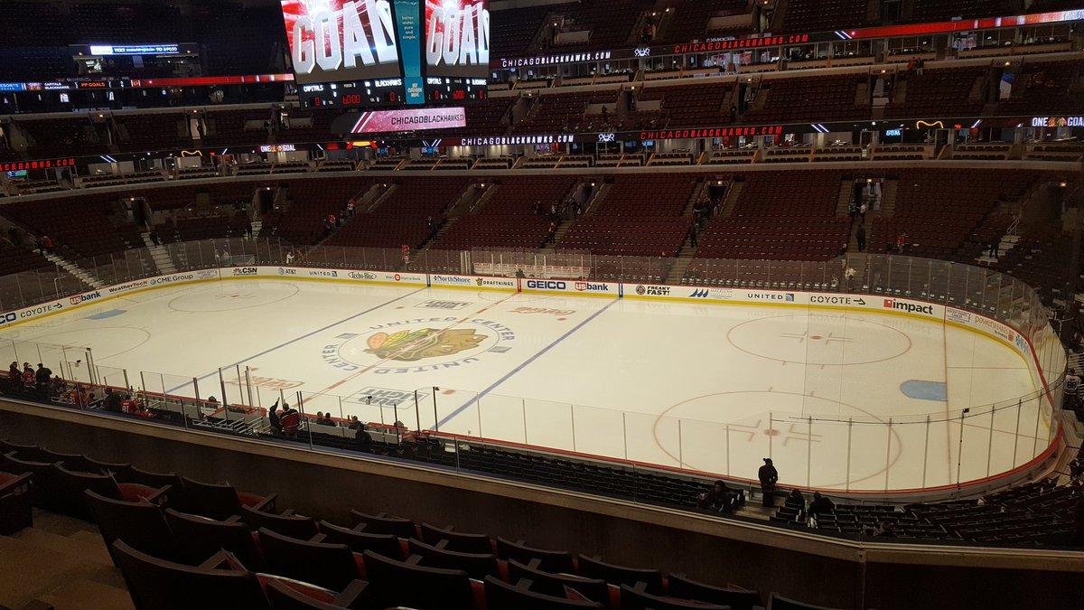 View of the Ice from the Lexus Club Level at the United Center, Home of the Chicago Blackhawks