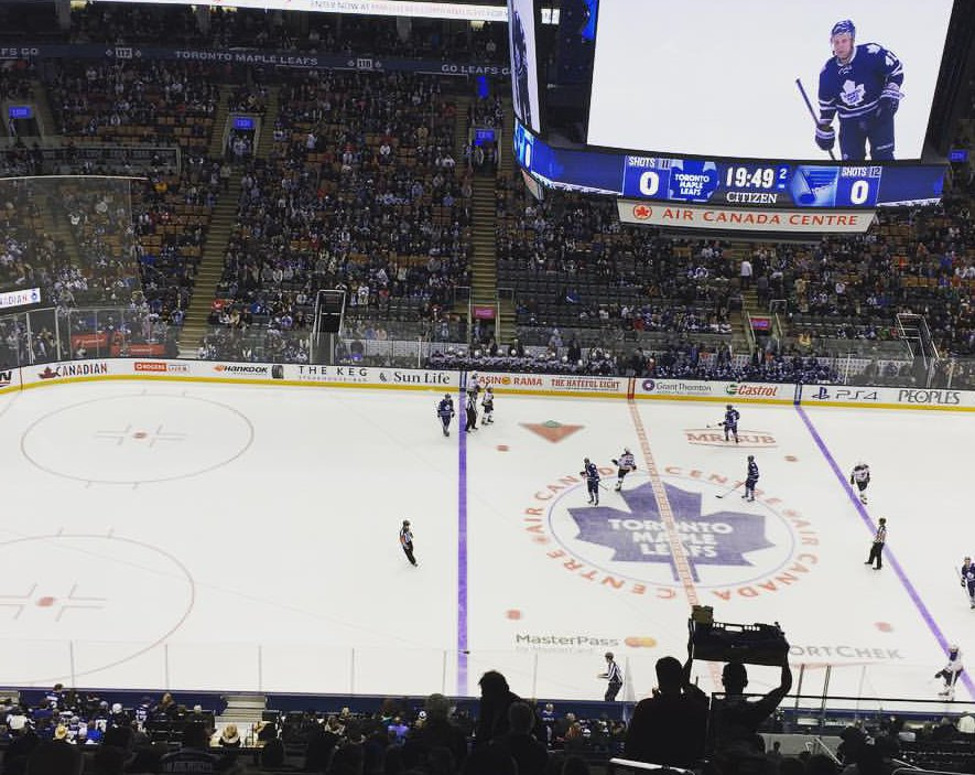 Photo of a Toronto Maple Leafs game from the 300 level of Scotiabank Arena.