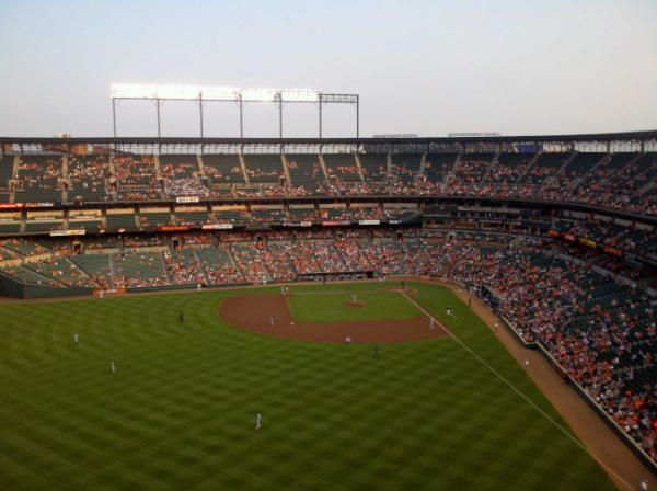 Photo of Oriole Park at Camden Yards from the upper reserve seats.