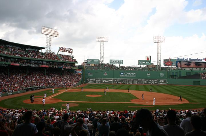 Photo of the playing field at Fenway Park during a Boston Red Sox game.