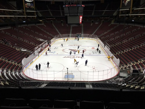 View from the Fox Sports Arizona Fan Cave area at Gila River Arena in Glendale, Arizona.