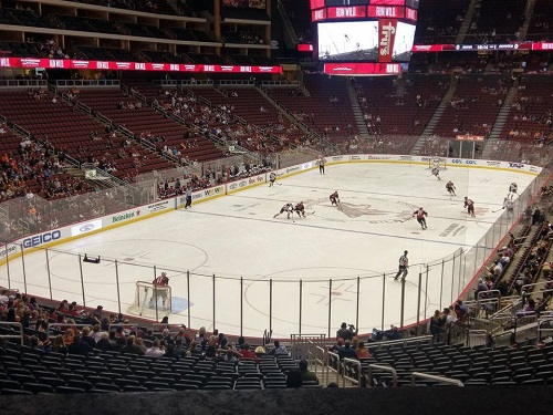 View from the Loge Box seating area at Gila River Arena during an Arizona Coyotes game.