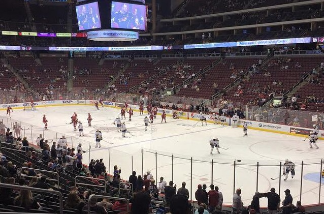 View from the lower level seats at Gila River Arena during an Arizona Coyotes game.