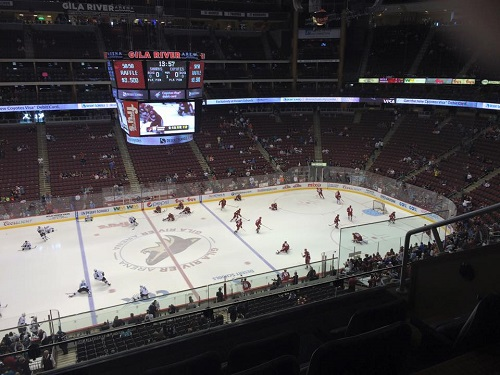 Sample view from a suite at Gila River Arena during an Arizona Coyotes game.