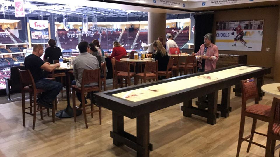Interior photo of a Tower Suite at Gila River Arena during an Arizona Coyotes game.