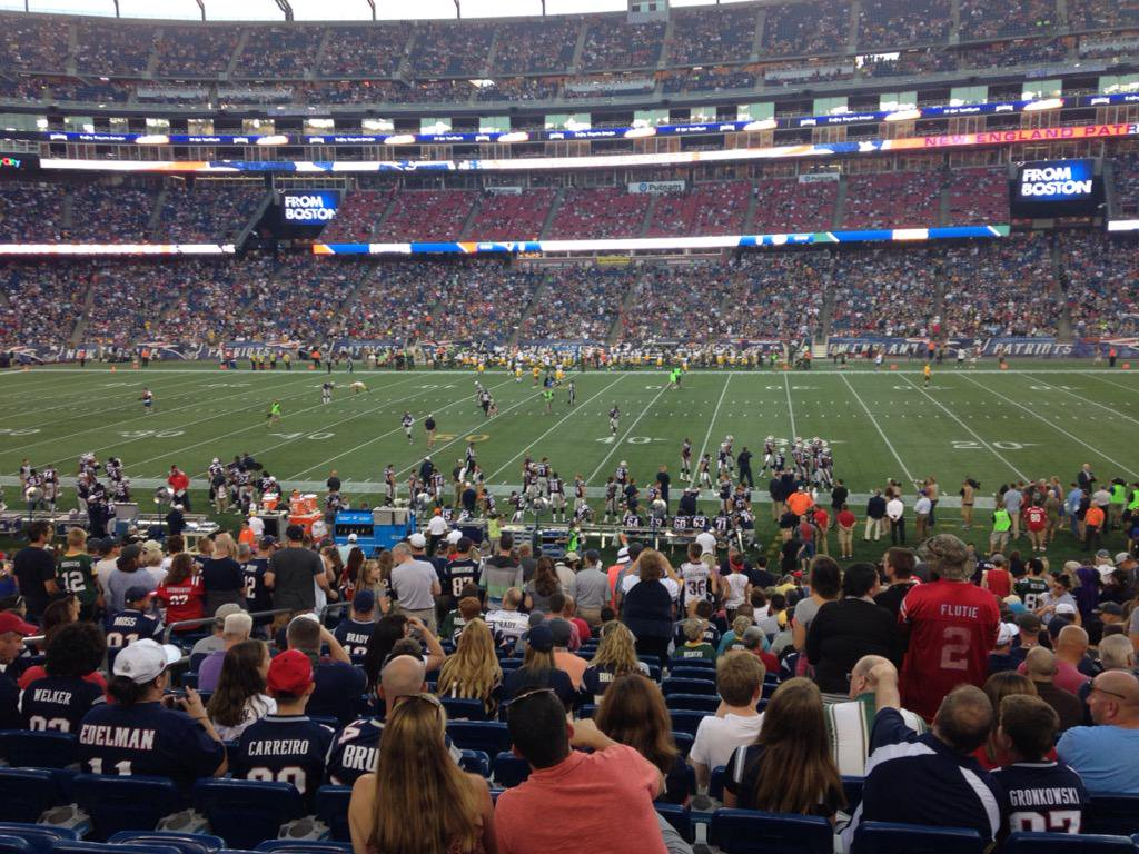 View from the 100 level seats at Gillette Stadium during a New England Patriots game.