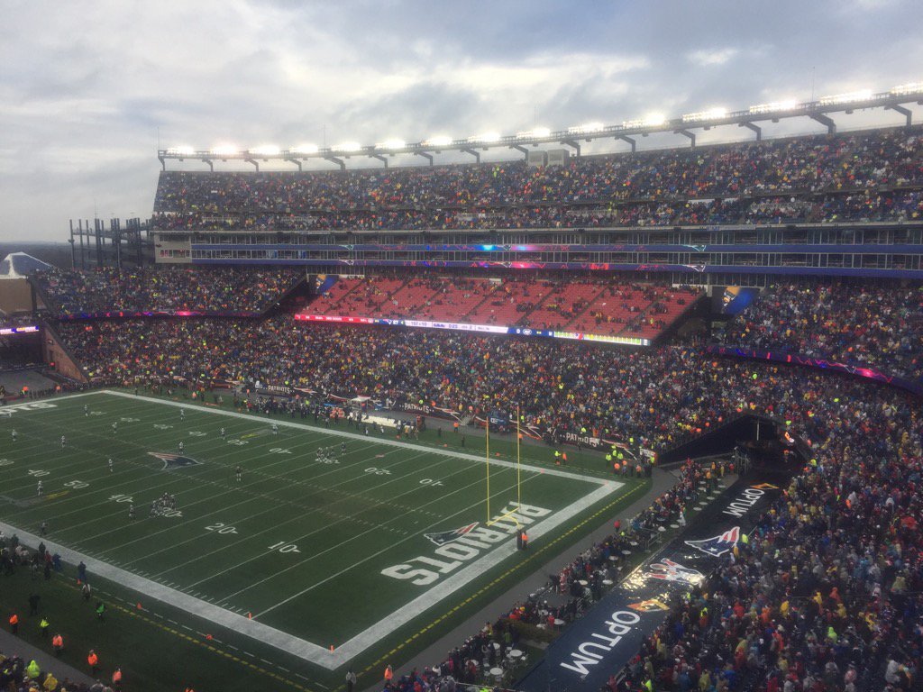 View from the 200 level seats at Gillette Stadium during a New England Patriots game.